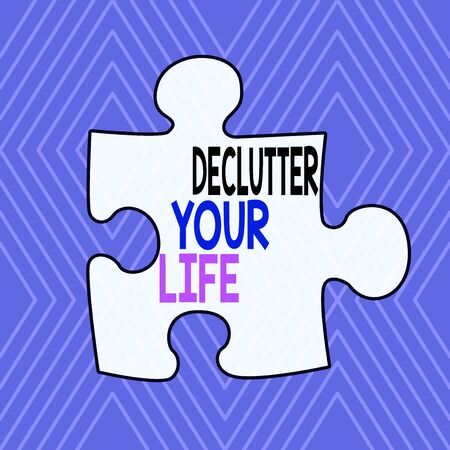 Text sign showing Declutter Your Life. Business photo showcasing To eliminate extraneous things or information in life Infinite Geometric Concentric Rhombus Pattern against Lilac Background Stok Fotoğraf