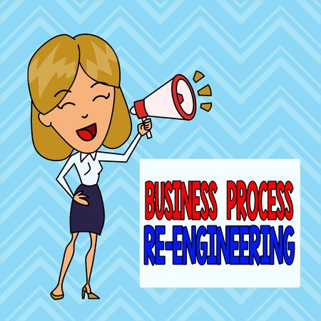 Word writing text Business Process Re Engineering. Business photo showcasing the analysis and design of workflows Young Woman Speaking into Blowhorn Volume Icon Colored Backgdrop Text Box