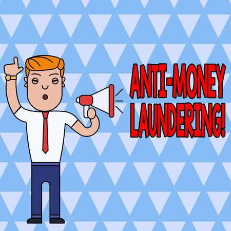 Conceptual hand writing showing Anti Money Laundering. Concept meaning regulations stop generating income through illegal actions Man Standing with Raised Right Index Finger with Megaphone Stock Photo