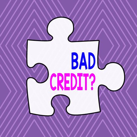 Text sign showing Bad Creditquestion. Business photo showcasing inabilityof a demonstrating to repay a debt on time and in full Infinite Geometric Concentric Rhombus Pattern against Lilac Background