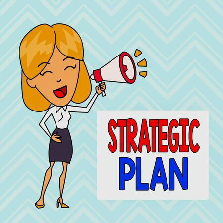 Word writing text Strategic Plan. Business photo showcasing a systematic process of envisioning a desired future Young Woman Speaking into Blowhorn Volume Icon Colored Backgdrop Text Box 写真素材