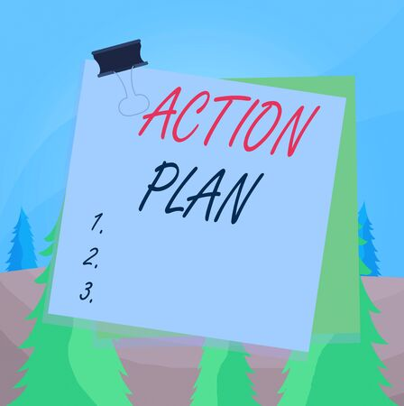 Word writing text Action Plan. Business photo showcasing detailed plan outlining actions needed to reach goals or vision Paper stuck binder clip colorful background reminder memo office supply