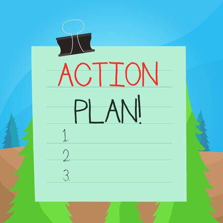 Word writing text Action Plan. Business photo showcasing proposed strategy or course of actions for certain time Paper lines binder clip cardboard blank square notebook color background Reklamní fotografie