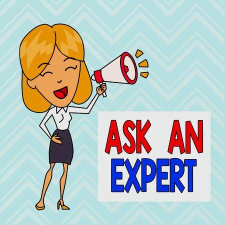 Woord schrijven tekst Vraag het een expert. Zakelijke foto presentatie raadplegen iemand die vaardigheid heeft over iets of goed geïnformeerde jonge vrouw spreken in blaashoorn volumepictogram gekleurde achtergrond tekstvak