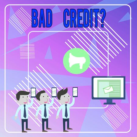 Word writing text Bad Creditquestion. Business photo showcasing inabilityof a demonstrating to repay a debt on time and in full SMS Email Marketing Media Audience Attraction Personal Computer Loudspeaker