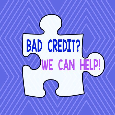 Text sign showing Bad Credit question We Can Help. Business photo showcasing offerr help to gain positive payment history Infinite Geometric Concentric Rhombus Pattern against Lilac Background