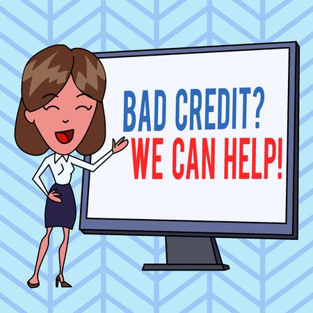 Writing note showing Bad Credit question We Can Help. Business concept for offerr help to gain positive payment history White Female in Standing Pointing Blank Screen Whiteboard Presentation