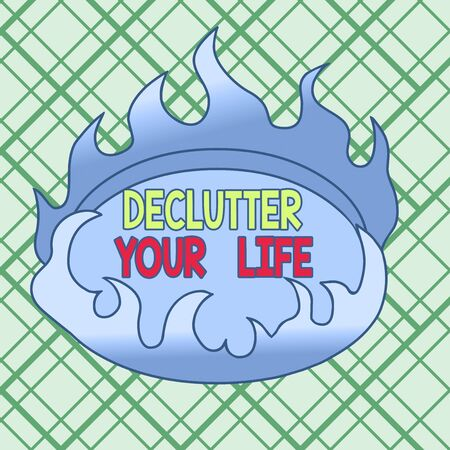 Conceptual hand writing showing Declutter Your Life. Concept meaning To eliminate extraneous things or information in life Asymmetrical uneven shaped pattern object multicolour design Stok Fotoğraf
