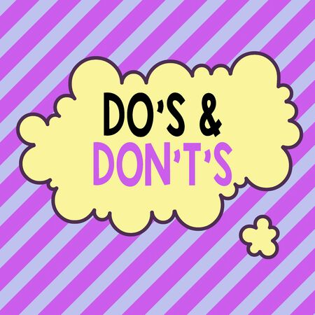 Text sign showing Do S And Don T S. Business photo text Confusion in one s is mind about something Asymmetrical uneven shaped format pattern object outline multicolour design