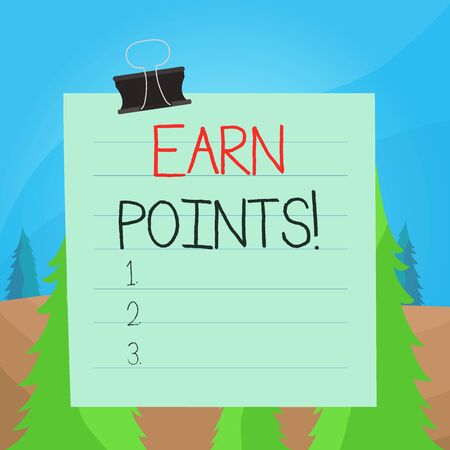 Word writing text Earn Points. Business photo showcasing collecting scores in order qualify to win big prize Paper lines binder clip cardboard blank square notebook color background Banque d'images - 132181294