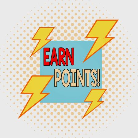 Word writing text Earn Points. Business photo showcasing collecting scores in order qualify to win big prize Asymmetrical uneven shaped format pattern object outline multicolour design Banque d'images - 132181297