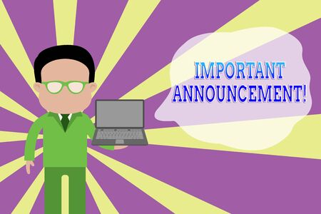 Word writing text Important Announcement. Business photo showcasing spoken statement that tells showing about something Standing man in suit wearing eyeglasses holding open laptop photo Art