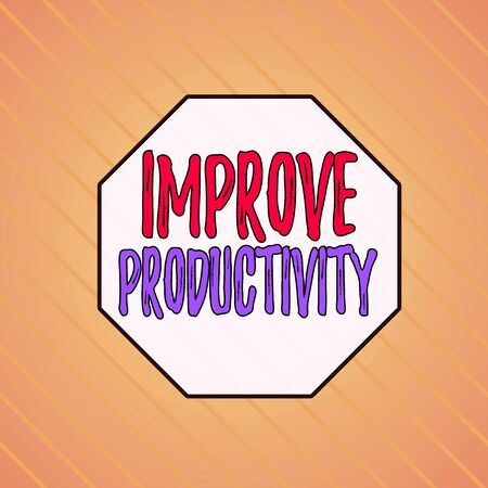 Writing note showing Improve Productivity. Business concept for to increase the machine and process efficiency Infinite Diagonal Pattern Stripes Slanting Lines Matching Background