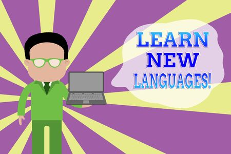 Word writing text Learn New Languages. Business photo showcasing developing ability to communicate in foreign lang Standing man in suit wearing eyeglasses holding open laptop photo Art Stockfoto