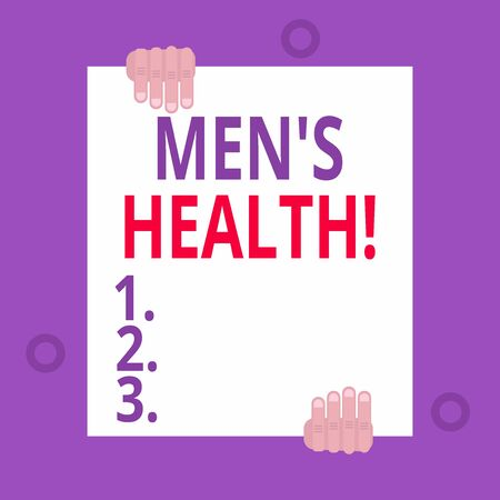 Writing note showing Men S Health. Business concept for state of complete physical mental and social well being by analysis Two hands hold one big empty blank white paper placed on top and bottom Stok Fotoğraf