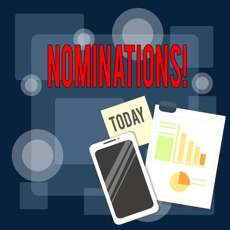 Writing note showing Nominations. Business concept for action of nominating or state being nominated for prize Layout Smartphone Sticky Notes with Pie Chart and Bar Graph