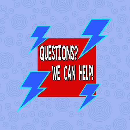 Conceptual hand writing showing Questions We Can Help. Concept meaning offering help to those who wants to know Asymmetrical format pattern object outline multicolor design