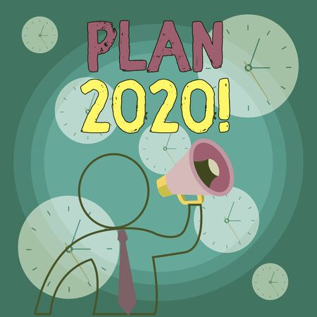 Writing note showing Plan 2020. Business concept for detailed proposal doing achieving something next year Outline Symbol Man Loudspeaker Making Announcement Giving Instructions