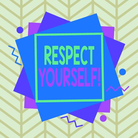 Handwriting text Respect Yourself. Conceptual photo believing that you good and worthy being treated well Asymmetrical uneven shaped format pattern object outline multicolour design Stock Photo