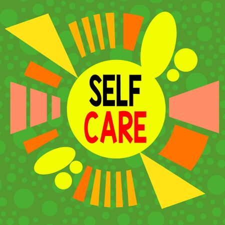 Handwriting text writing Self Care. Conceptual photo the practice of taking action to improve one s is own health Asymmetrical uneven shaped format pattern object outline multicolour design