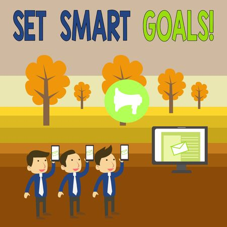Writing note showing Set Smart Goals. Business concept for list to clarify your ideas focus efforts use time wisely SMS Email Marketing Media Audience Attraction PC Loudspeaker