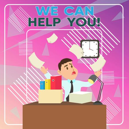 Word writing text We Can Help You. Business photo showcasing offering good assistance to customers or friends Confused Male Employee Manager Cluttered Workspace Overflow Time Shortage Banco de Imagens