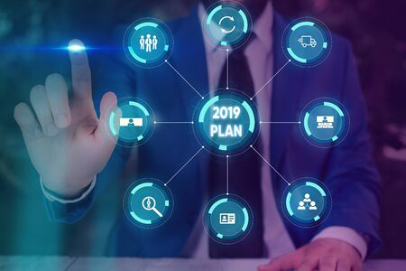 Text sign showing 2019 Plan. Business photo text setting up your goals and plans for the current year or in 2019 Picture photo system network scheme modern technology smart device 写真素材 - 132223368