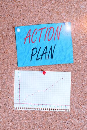 Writing note showing Action Plan. Business concept for detailed plan outlining actions needed to reach goals or vision Corkboard size paper thumbtack sheet billboard notice board