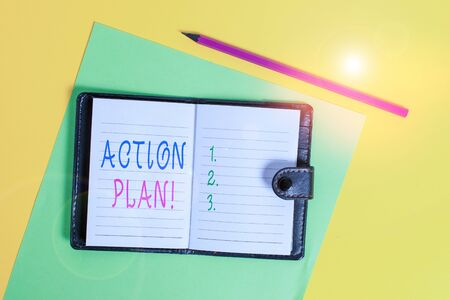 Text sign showing Action Plan. Business photo showcasing proposed strategy or course of actions for certain time Dark leather private locked diary striped sheets marker colored background