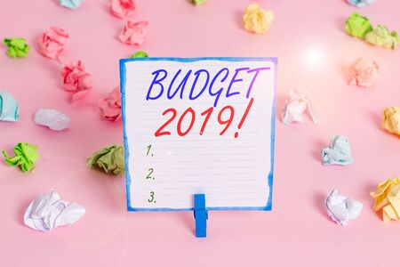 Handwriting text Budget 2019. Conceptual photo estimate of income and expenditure for current year Colored crumpled papers empty reminder pink floor background clothespin 写真素材 - 132244899