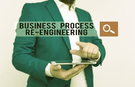 Text sign showing Business Process Re Engineering. Business photo text the analysis and design of workflows Businessman with pointing finger in front of him 스톡 콘텐츠
