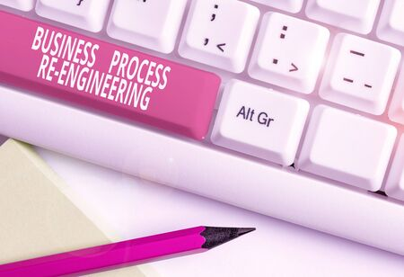 Text sign showing Business Process Re Engineering. Business photo text the analysis and design of workflows White pc keyboard with empty note paper above white background key copy space