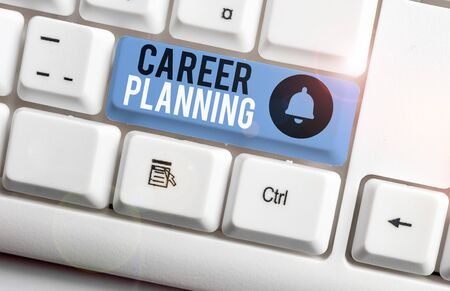 Text sign showing Career Planning. Business photo showcasing Strategically plan your career goals and work success White pc keyboard with empty note paper above white background key copy space