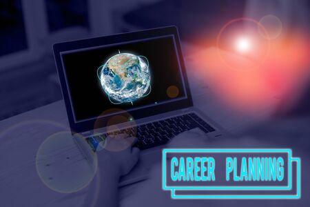 Word writing text Career Planning. Business photo showcasing Strategically plan your career goals and work success Picture photo system network scheme modern technology smart device