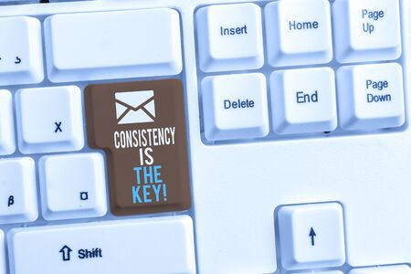 Writing note showing Consistency Is The Key. Business concept for by Breaking Bad Habits and Forming Good Ones White pc keyboard with note paper above the white background
