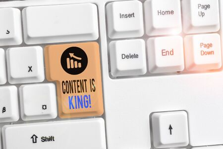 Handwriting text writing Content Is King. Conceptual photo marketing focused growing visibility non paid search results White pc keyboard with empty note paper above white background key copy space