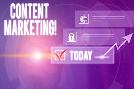 Writing note showing Content Marketing. Business concept for involves creation and sharing of online material Picture photo network scheme with modern smart device