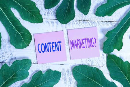 Word writing text Content Marketing Question. Business photo showcasing involves creation and sharing of online material Leaves surrounding notepaper above a classic wooden table as the background