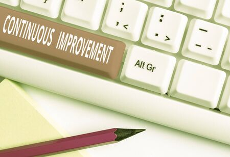 Text sign showing Continuous Improvement. Business photo text ongoing effort to improve products or processes White pc keyboard with empty note paper above white background key copy space Stok Fotoğraf