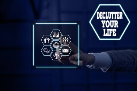 Word writing text Declutter Your Life. Business photo showcasing To eliminate extraneous things or information in life Picture photo system network scheme modern technology smart device