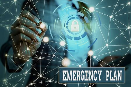 Text sign showing Emergency Plan. Business photo showcasing procedures for handling sudden or unexpected situations Picture photo system network scheme modern technology smart device