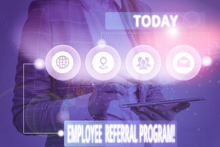 Writing note showing Employee Referral Program. Business concept for employees are rewarded for introducing recruits Picture photo network scheme with modern smart device
