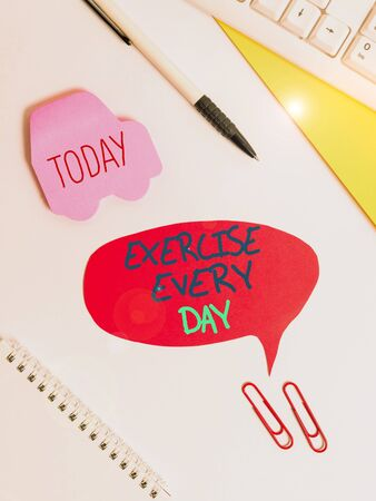 Text sign showing Exercise Every Day. Business photo showcasing move body energetically in order to get fit and healthy Red bubble copy space paper on the table with clock