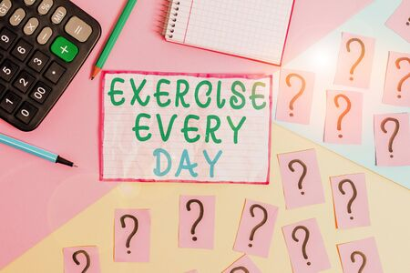 Handwriting text Exercise Every Day. Conceptual photo move body energetically in order to get fit and healthy Mathematics stuff and writing equipment above pastel colours background
