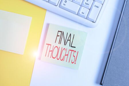 Text sign showing Final Thoughts. Business photo showcasing the conclusion or last few sentences within your conclusion Empty blank paper with copy space and pc keyboard above orange background table