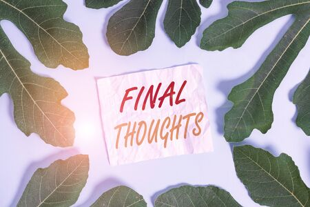 Text sign showing Final Thoughts. Business photo text the conclusion or last few sentences within your conclusion Leaves surrounding notepaper above an empty soft pastel table as background Banque d'images