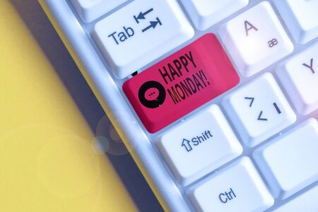 Word writing text Happy Monday. Business photo showcasing telling that demonstrating order to wish him great new week White pc keyboard with empty note paper above white background key copy space