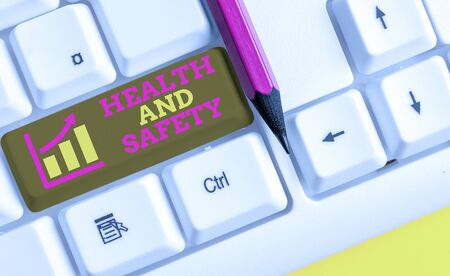 Text sign showing Health And Safety. Business photo text procedures intended to prevent accident in workplace White pc keyboard with empty note paper above white background key copy space