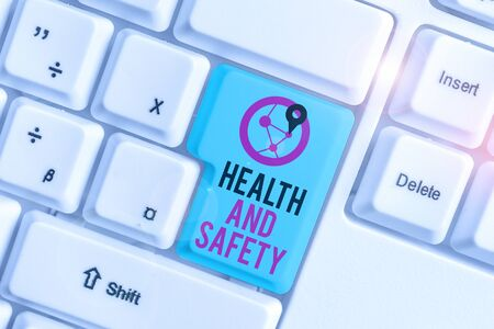 Conceptual hand writing showing Health And Safety. Concept meaning procedures intended to prevent accident in workplace White pc keyboard with note paper above the white background