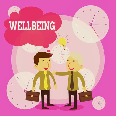 Conceptual hand writing showing Wellbeing. Concept meaning A good or satisfactory condition of existence including health Businessmen Colleagues with Brief Case Sharing Idea Solution